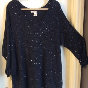 DKNY SZ 3X WOMENS  V Neck sequins sweater